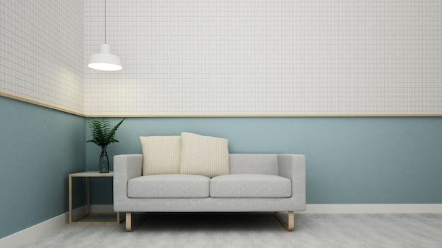 Kawiarni przestrzeni wnętrze i ścienna dekoracja - 3d rendering