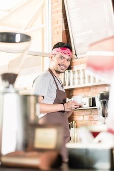 Kawiarnia, barista, bar, kawa, maszyna,