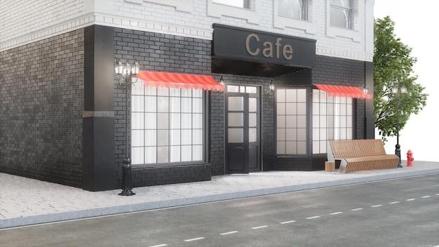 Kawiarnia lub kawiarnia. na zewnątrz budynku przy drodze