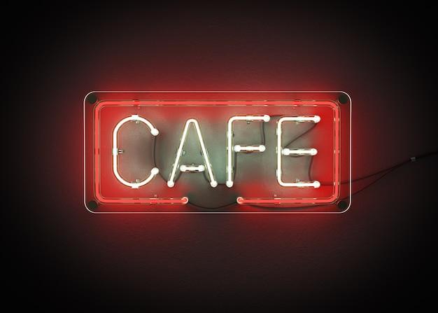 Kawiarnia znak robić od neonowego abecadła 3d renderingu