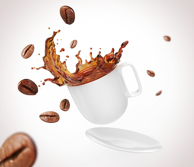 Kawowa fasola z pluśnięciem czarnej kawy forma biała filiżanka, ścinek ścieżka, 3d ilustracja.