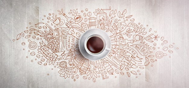 Kawowy pojęcie na drewnianym tle - biała filiżanka, odgórny widok z doodle ilustracją kawa, fasole, ranek, kawa espresso w kawiarni, śniadanie. poranna kawa. rysować ręka i ilustracja kawy