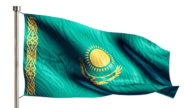 Kazachstan flaga narodowa pojedyncze 3d białe tło