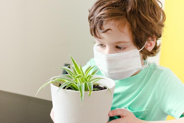 Kędzierzawy chłopiec w masce medycznej trzyma kwiat w doniczce i wygląda przez okno.