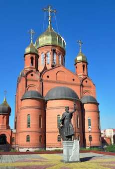 Kemerowo syberia rosja09012021 rzeźba księcia włodzimierza chrzciciela rosji