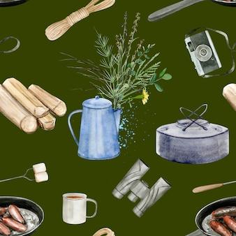 Kemping leśny wzór. idealny do dekoracji kartek, zaproszeń, imprez, banerów, baby shower, przedszkoli i dzieci.