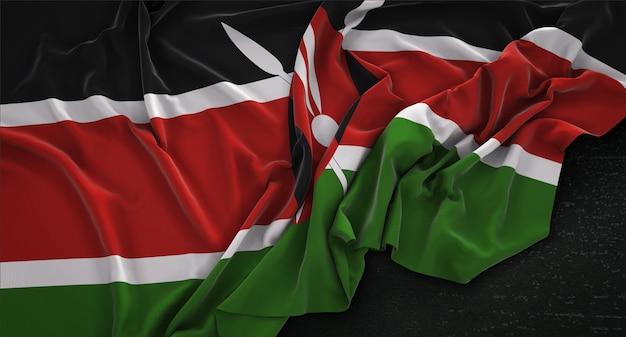 Kenia flag zgnieciony na ciemnym tle renderowania 3d