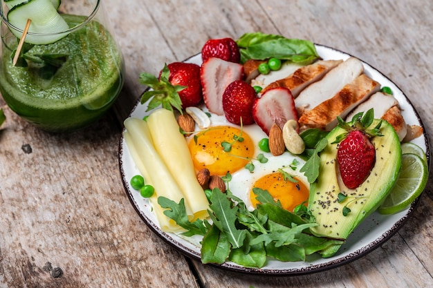 Keto, dieta ketogeniczna, jajko sadzone, awokado, truskawka, grillowany filet z kurczaka, ser, orzechy i rukola. niska zawartość węglowodanów, wysoka zawartość tłuszczu, zdrowa żywność