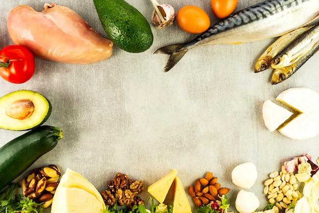 Keto, dieta ketogeniczna, niskowęglowodanowa, zdrowa żywność o wysokiej zawartości tłuszczu.