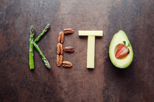 Keto słowo wykonane z ketogenicznego jedzenia