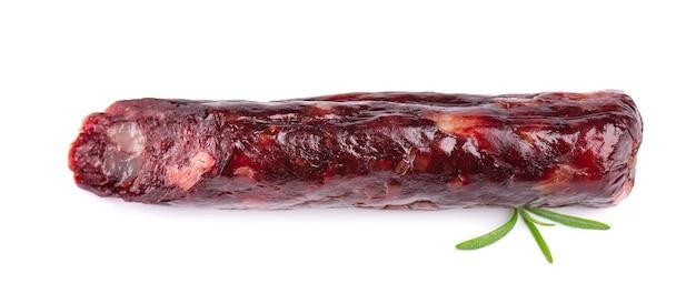 Kiełbasa końska smakowita wysuszona kiełbasa, zakończenie, odizolowywający na bielu.