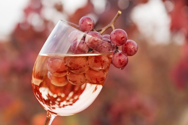 Kieliszek do wina z winem i kiścią winogron w środku, na tle czerwonych winnic