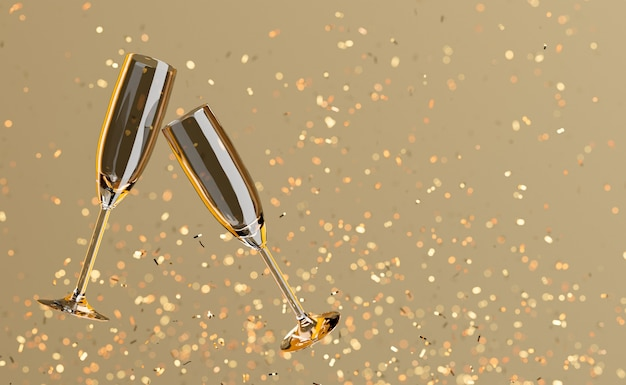 Kieliszki do szampana unoszące się ze złotym konfetti