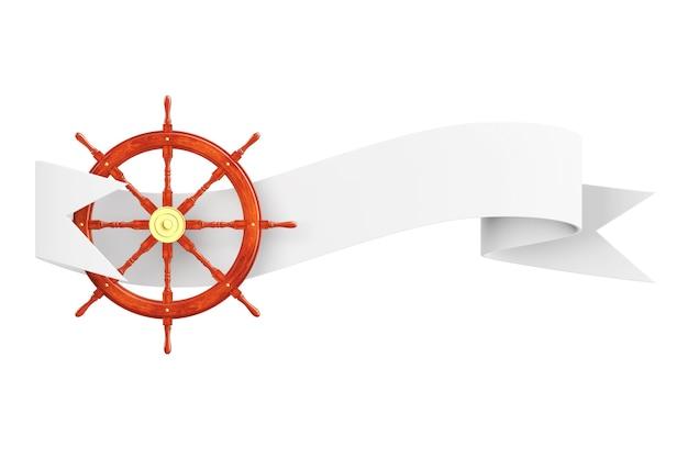 Kierownica morskiego statku z wstążką transparent na białym tle. renderowanie 3d.