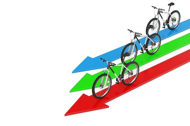 Kierunek do koncepcji sukcesu. czarno-biały rower górski nad strzałkami na białym tle. renderowanie 3d