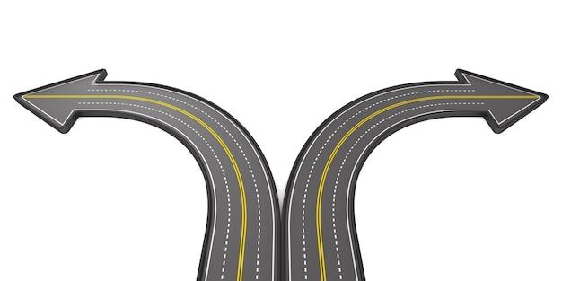 Kierunek drogi na białym tle. ilustracja 3d