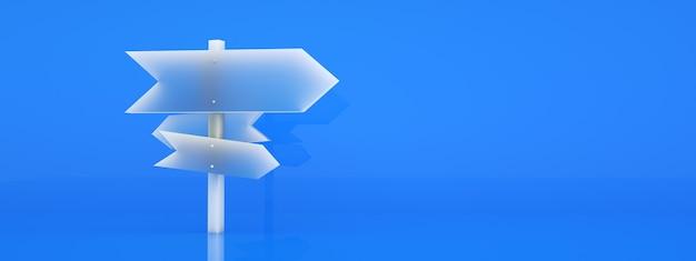 Kierunek znaków drogowych na niebieskim tle, renderowanie 3d, układ panoramiczny