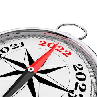 Kierunku do nowego roku 2022 pojęciowy kompas zbliżenie na białym tle. renderowanie 3d