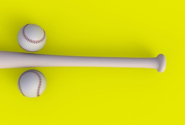 Kij bejsbolowy odizolowywający na żółtym tle, 3d rendering