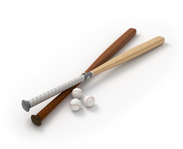 Kije baseballowe z piłeczkami baseballowymi