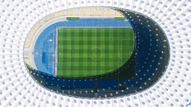 Kijów. ukraina - 22 kwietnia 2017 - widok na stadion olimpijski w kijowie, na którym rozegrano mistrzostwa europy w piłce nożnej w 2012 roku