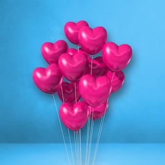 Kilka balonów kształt różowego serca na tle niebieskiej ściany. renderowanie ilustracji 3d