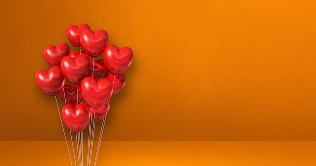 Kilka balonów kształt serca czerwonego na tle pomarańczowej ściany. baner poziomy. renderowanie ilustracji 3d