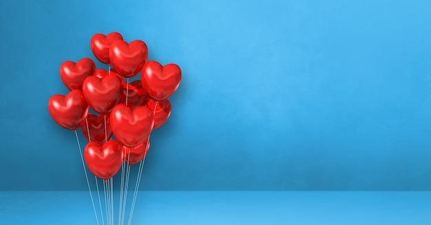 Kilka balonów kształt serca czerwony na tle niebieskiej ściany. baner poziomy. renderowanie ilustracji 3d