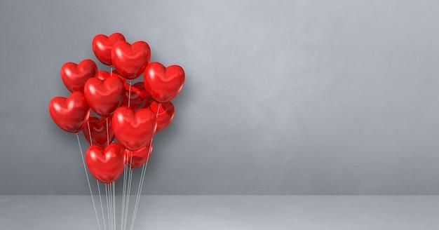 Kilka balonów kształt serca czerwony na tle szarej ściany. renderowanie ilustracji 3d
