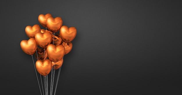 Kilka balonów kształt serca miedzi na tle czarnej ściany. baner poziomy. renderowanie ilustracji 3d