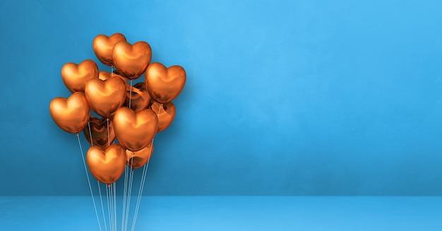 Kilka balonów kształt serca miedzi na tle niebieskiej ściany. . renderowanie ilustracji 3d