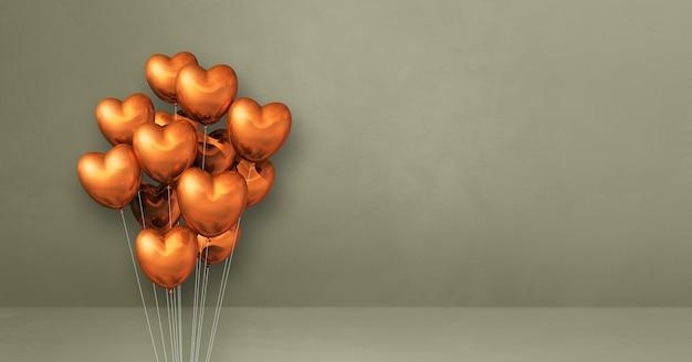 Kilka balonów kształt serca miedzi na tle szarej ściany. baner poziomy. renderowanie ilustracji 3d