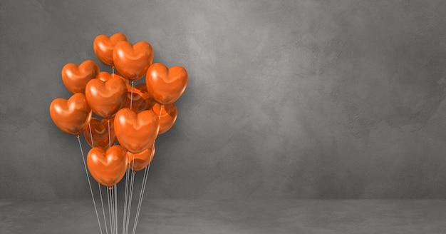 Kilka balonów kształt serca pomarańczowy na tle szarej ścianie. baner poziomy. renderowanie ilustracji 3d