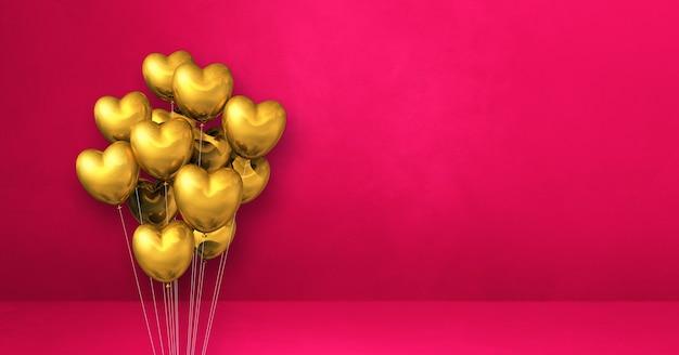 Kilka balonów kształt złote serce na tle różowej ściany. baner poziomy. renderowanie ilustracji 3d