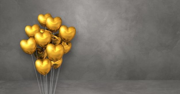 Kilka balonów kształt złote serce na tle szarej ściany. baner poziomy. renderowanie ilustracji 3d