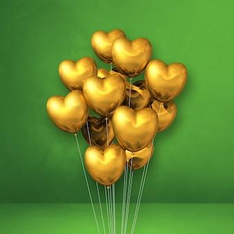 Kilka balonów kształt złote serce na tle zielonej ściany. renderowanie ilustracji 3d