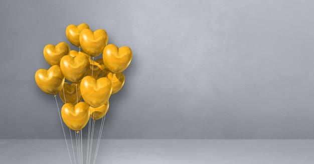 Kilka balonów kształt żółtego serca na tle szarej ściany. baner poziomy. renderowanie ilustracji 3d