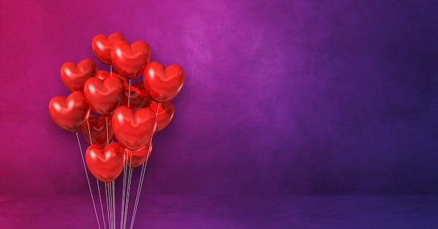 Kilka balonów w kształcie serca czerwonego na tle ściany fioletowy. baner poziomy. renderowanie ilustracji 3d