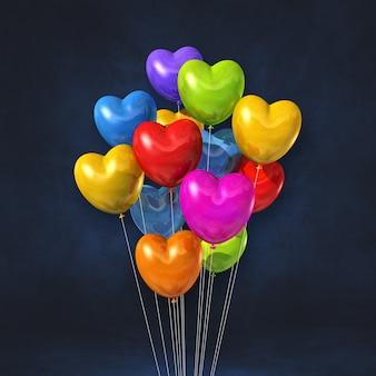 Kilka Balonów W Kształcie Serca Kolorowe Na Tle Czarnej ściany. Renderowanie Ilustracji 3d Premium Zdjęcia
