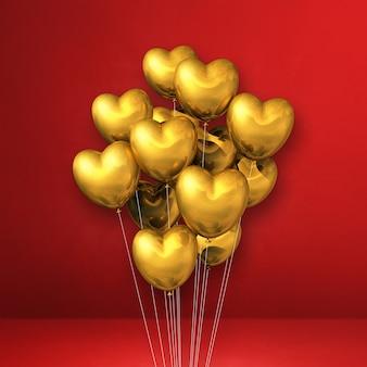 Kilka balonów w kształcie złotego serca na czerwonej ścianie. renderowanie ilustracji 3d