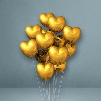 Kilka balonów w kształcie złotego serca na szarej ścianie. renderowanie ilustracji 3d