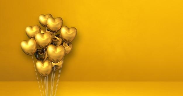 Kilka balonów w kształcie złotego serca na tle żółtej ściany. baner poziomy. renderowanie ilustracji 3d