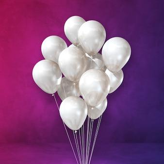 Kilka białych balonów na fioletowej ścianie. renderowanie ilustracji 3d