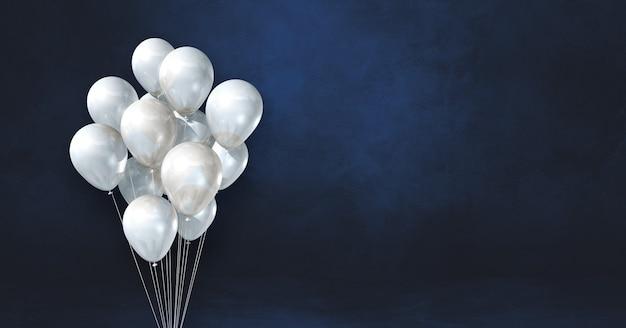 Kilka białych balonów na tle czarnej ściany. baner poziomy. renderowanie ilustracji 3d