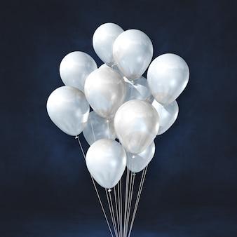 Kilka białych balonów na tle czarnej ściany. renderowanie ilustracji 3d