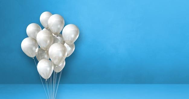 Kilka białych balonów na tle niebieskiej ściany. baner poziomy. renderowanie ilustracji 3d