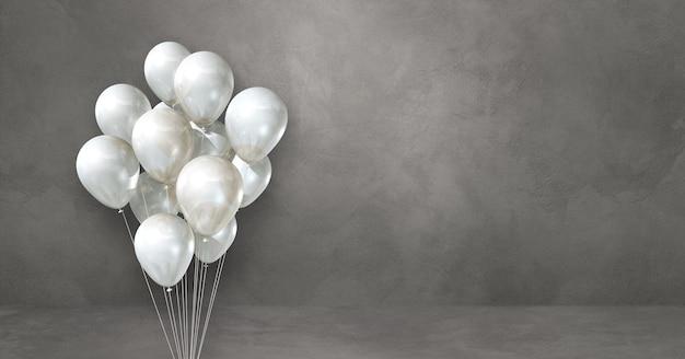 Kilka białych balonów na tle szarej ściany. baner poziomy. renderowanie ilustracji 3d