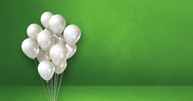 Kilka białych balonów na tle zielonej ściany. baner poziomy. renderowanie ilustracji 3d