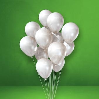 Kilka białych balonów na tle zielonej ściany. renderowanie ilustracji 3d