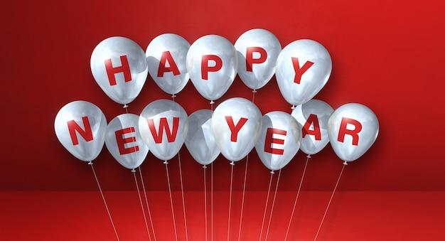 Kilka białych balonów szczęśliwego nowego roku na czerwonym tle betonu. baner poziomy. renderowanie ilustracji 3d